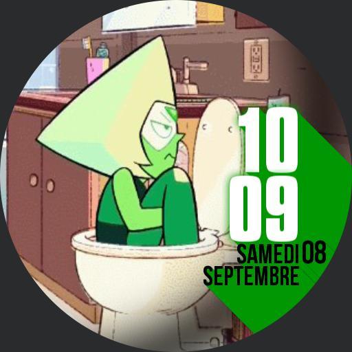 Peridot on the toilet
