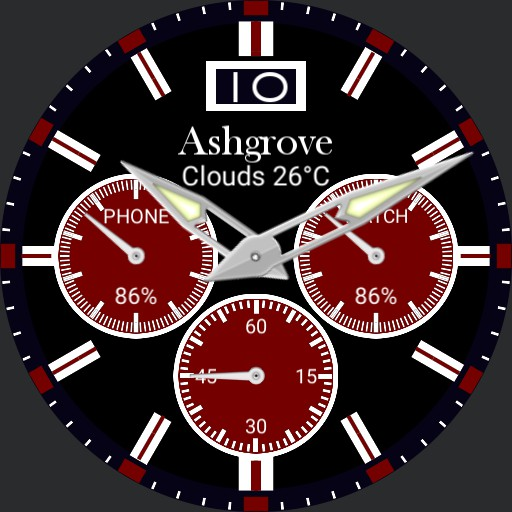 Chrono style with weather and battery levels