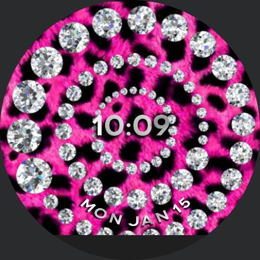 pink and black leopard bling digital