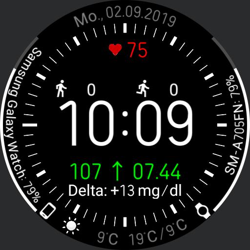 V.2.0/EN Galaxy Watch Face Clearly arranged with xDrip integration
