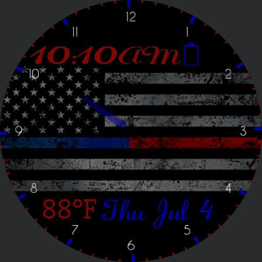 Thin Blue Red Line W/O Heart Rate