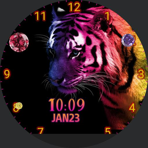 tiger, pink, yellow, purple
