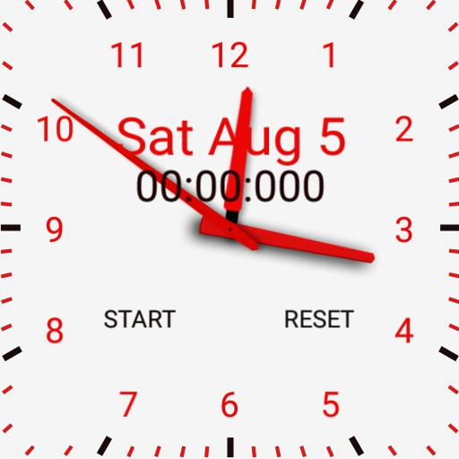 White background and red with stop watch square face