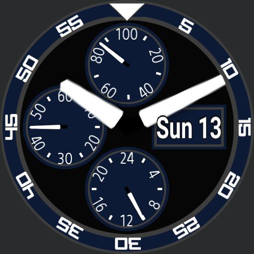 Classic 3 dial blue grey