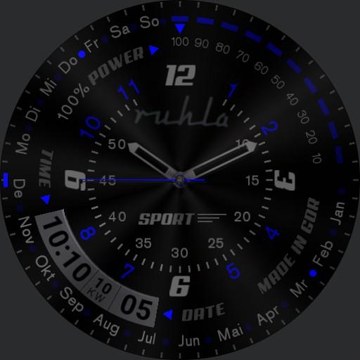 Ruhla Blue Black Sport Watch