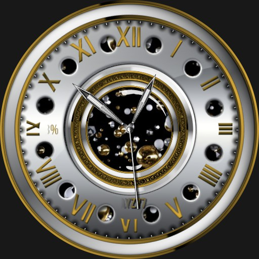 Yellow gold and chrome with effects on watch face. copy