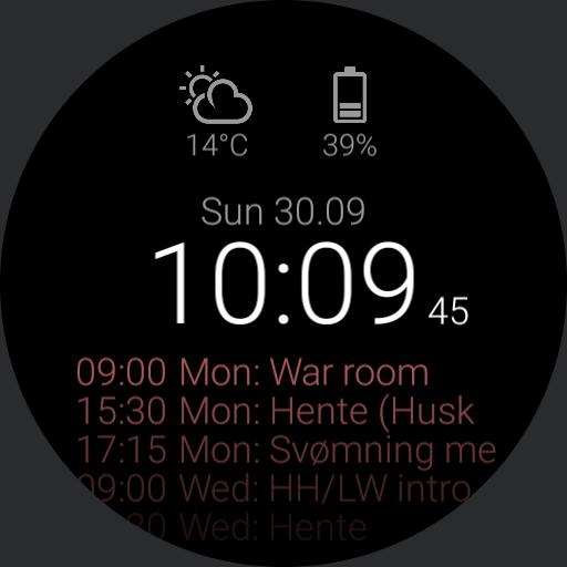 Time, weather and 3 line calendar