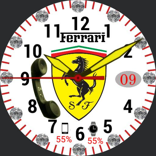 Ferrari white Diamond watch clock  Copy