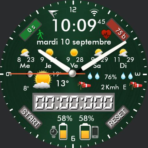 By Nspz_73, 12 background colors, highly customizable and themeable watch face Mod 1