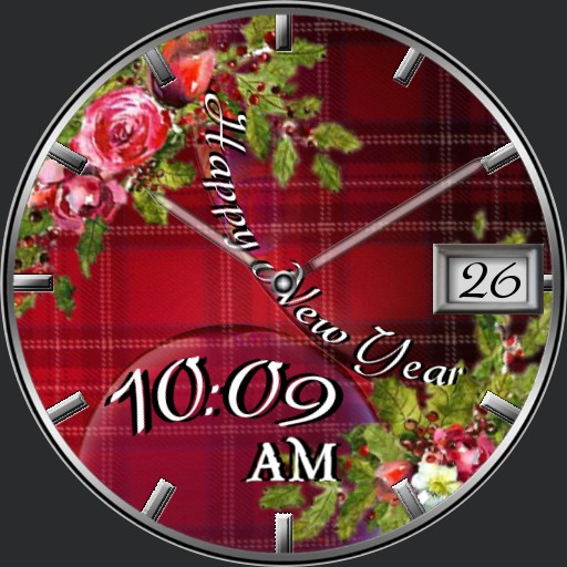 Happy New Year Red Tartan Floral Dream