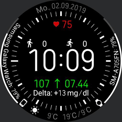 V.1.0/DE Galaxy Watch Face  Aufgerumt  bersichtlich 1 mit xDrip Integration