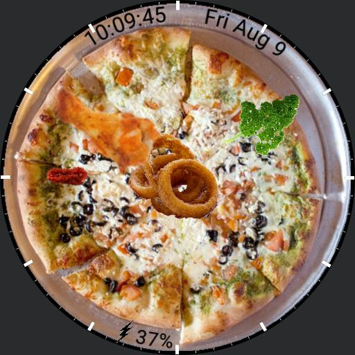 Pizza with chicken drumlet and onion rings