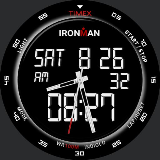 T56371 Ironman Timex white on black