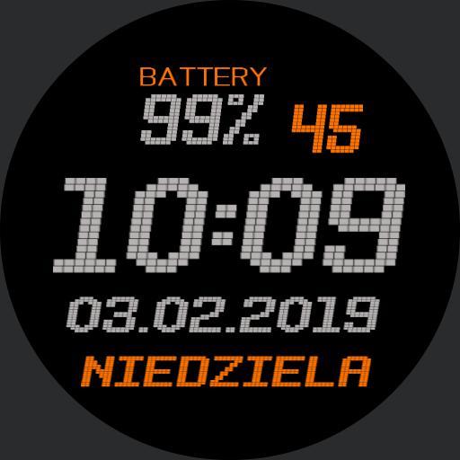 grey and orange digital