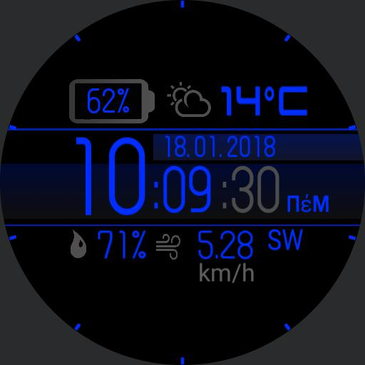 MG 2018 v.2 12h-24h - km/h edition  Digital weather watch face.