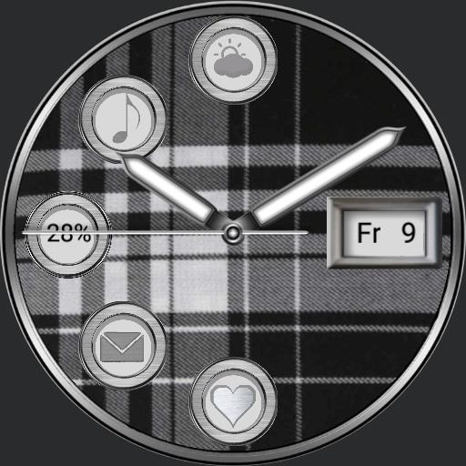 Tartan pattern watch multi-screen with 5 app launcher for Samsung Galaxy Watch