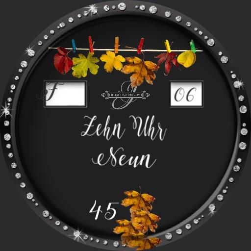 Herbstlaub Textuhr Deutsch Animation