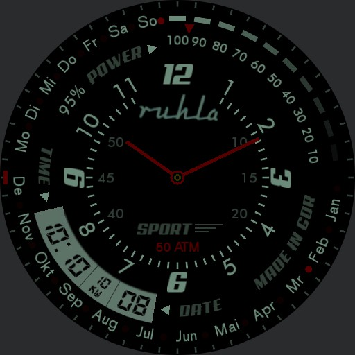 Ruhla  Black Military Watch Red LED