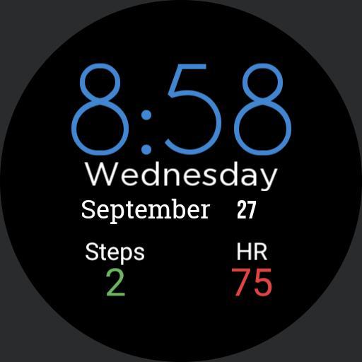 simple clock/steps/HR