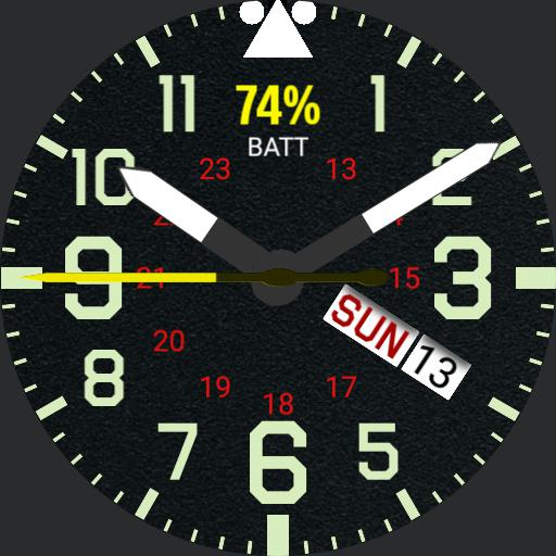 Basic Military Watch with date/calendar textured face V.1.3