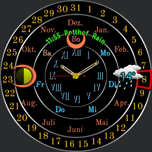 0064 b analog calendar clock Black