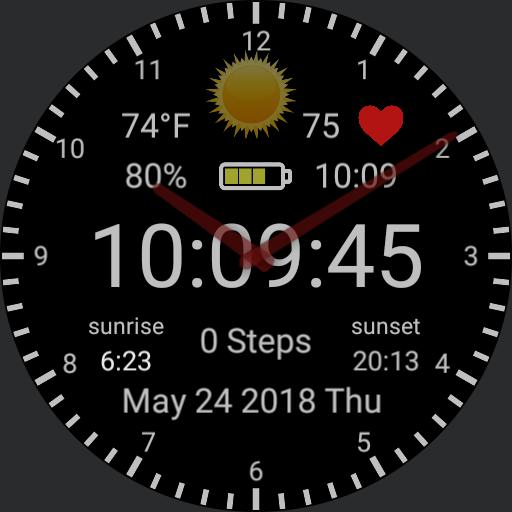 Digital, Steps, Weather, Heart, 24hr, Battery