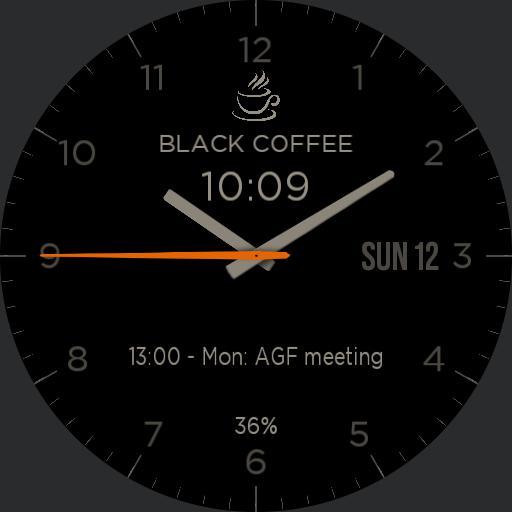 Simple, black watch battery saving