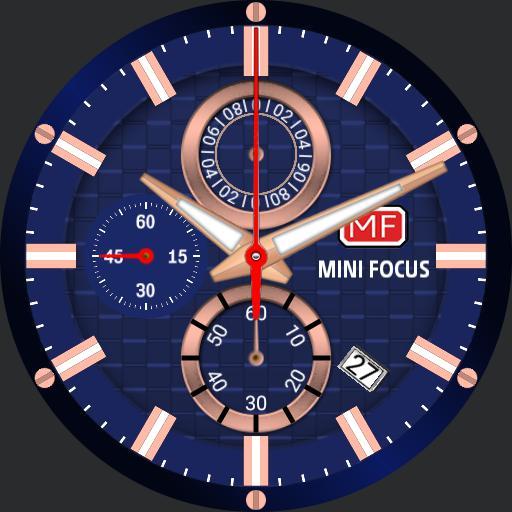 Mini Focus Chronograph Chronometer Blue / Rose Gold