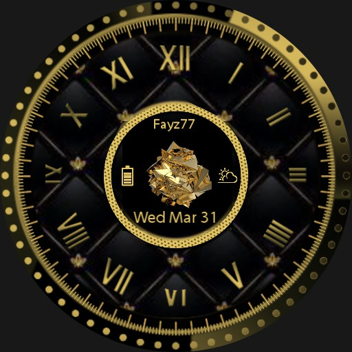 Black and gold watch face.