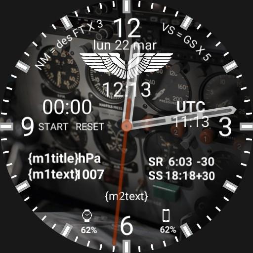 Aviation Pilot Watchface ANALOG COCKPIT