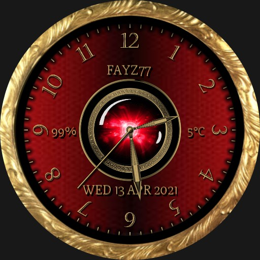 Red, gold and black watch face with motion.