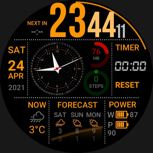 Dashboard: calendar events, mechanical clock, weather