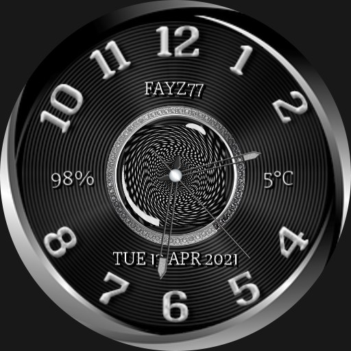 Black, grey and white watch face.