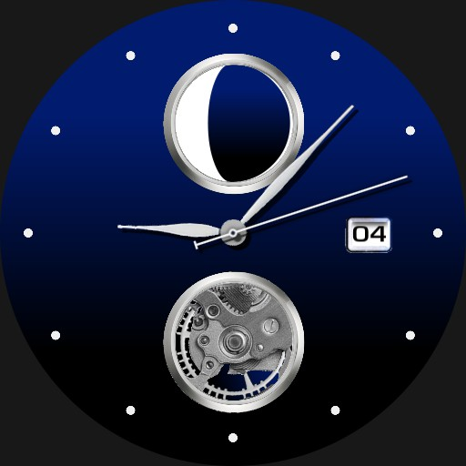 Blue Analog Tourbillon Moon Phase