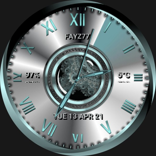 Chrome and turquoise watch face.