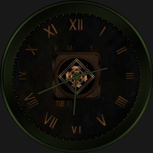 Green and brown watch face.