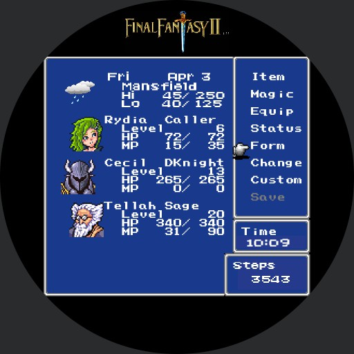 Final Fantasy II - Menu