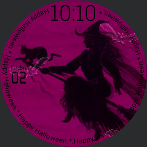 Happy Halloween Witch, Cat, Bats #1