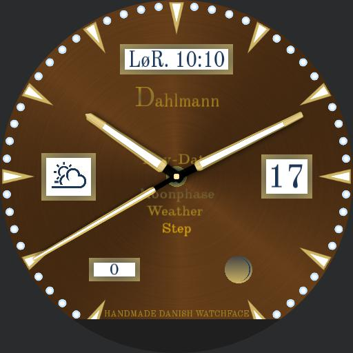 Dahlmann Original Danish made, Day-Date-Moonphase-Weather-Step Brown less gold