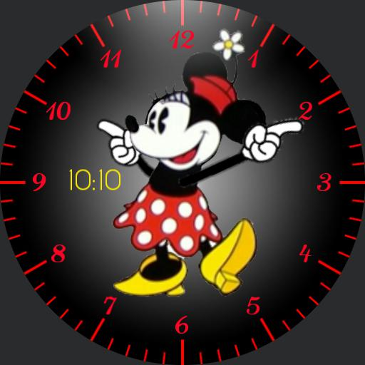 Minnie - animated red with digital watch
