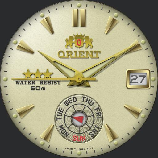 Orient Automatic 3 Star Day Date C.1970s Model No. EM5j-AO CA