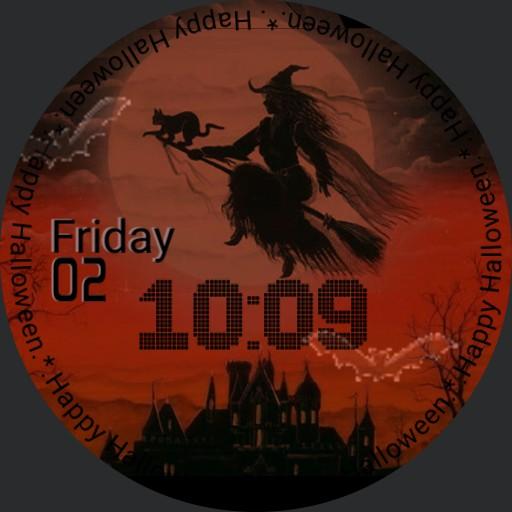 Happy Halloween Witch, Cat, Bats City View