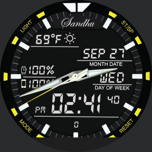 DUAL 2 Watch Face bigger clock