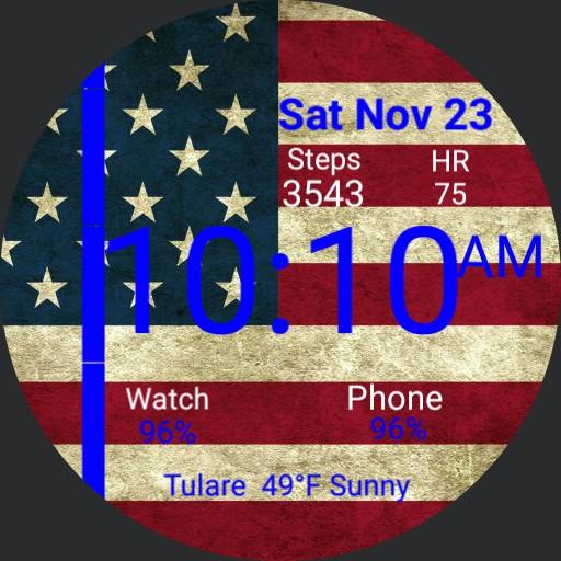 Thin blue USA Flag