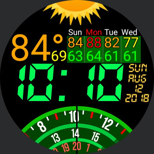 Dial Time Weather 12 hour clock version with event countdown.