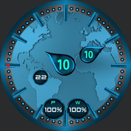Worldly. Single fun face. Floating hands showing analogue and digital time.