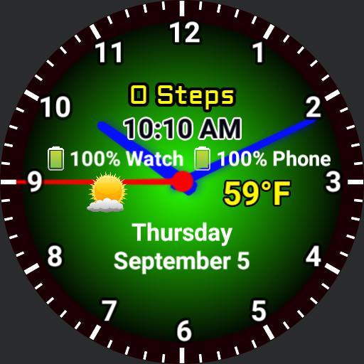 10,000 Steps Circle Progress - GREEN ANALOG - version 1.2