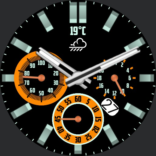 Chronograph look with weather and battery level