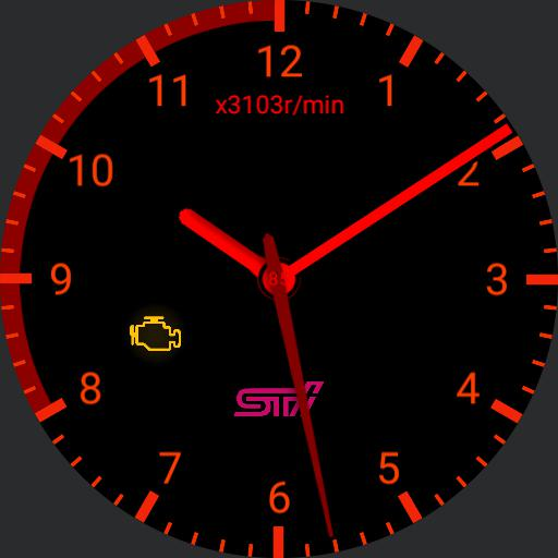 STi gauge with red line with battery