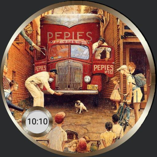 Norman Rockwell art watch with app launcher for Samsung Galaxy Watch
